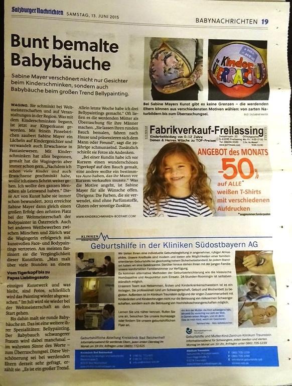 Kinderschminken Face Und Bodypainting Sabine Mayer Presseberichte